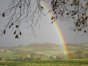 Rainbow over Old Sarum, Salisbury, Wiltshire UK -- by Ana Gobledale, UK