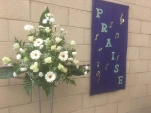 Easter Flowers at The Crossing Church, Worksop -- by Geoffrey Clarke, UK