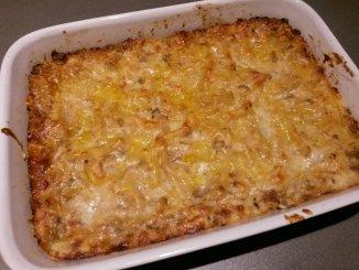 Lasagne met gehakt, kippenlever en witte kool