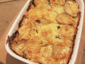 aardpeer en aardappel gratin met salie