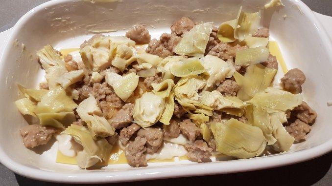 lasagne met artisjokharten en saucijzenvlees