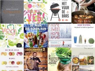 Collage kookboeken verlanglijstje foodies Sinterklaas en Kerst