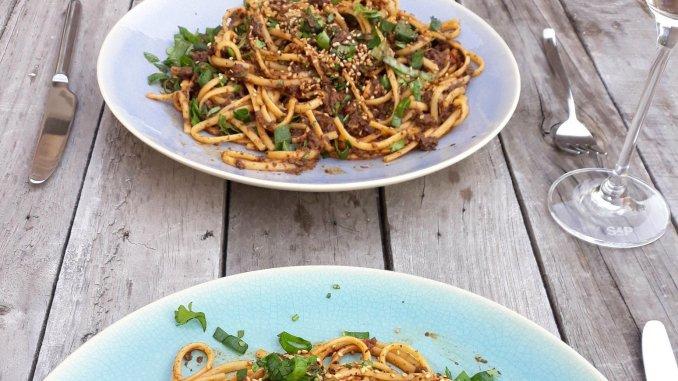 Spaghetti met kastanjechampignons uit Bazaar