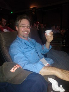 Friend of the Show John Angelico enjoying a non-alcoholic beverage (yeah right) in the Kabuki balcony..