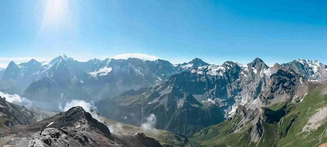 Panorama of Swiss Alps from Schilthorn Peak