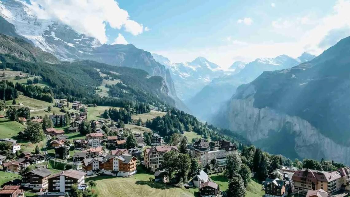 Mountain town of Wengen in the Lauterbrunnen Valley