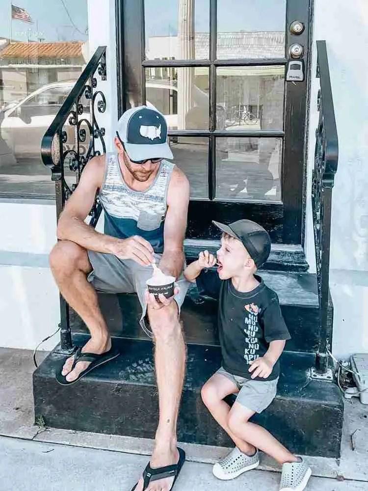 Father and son eating Nado Gelato on Coronado Island