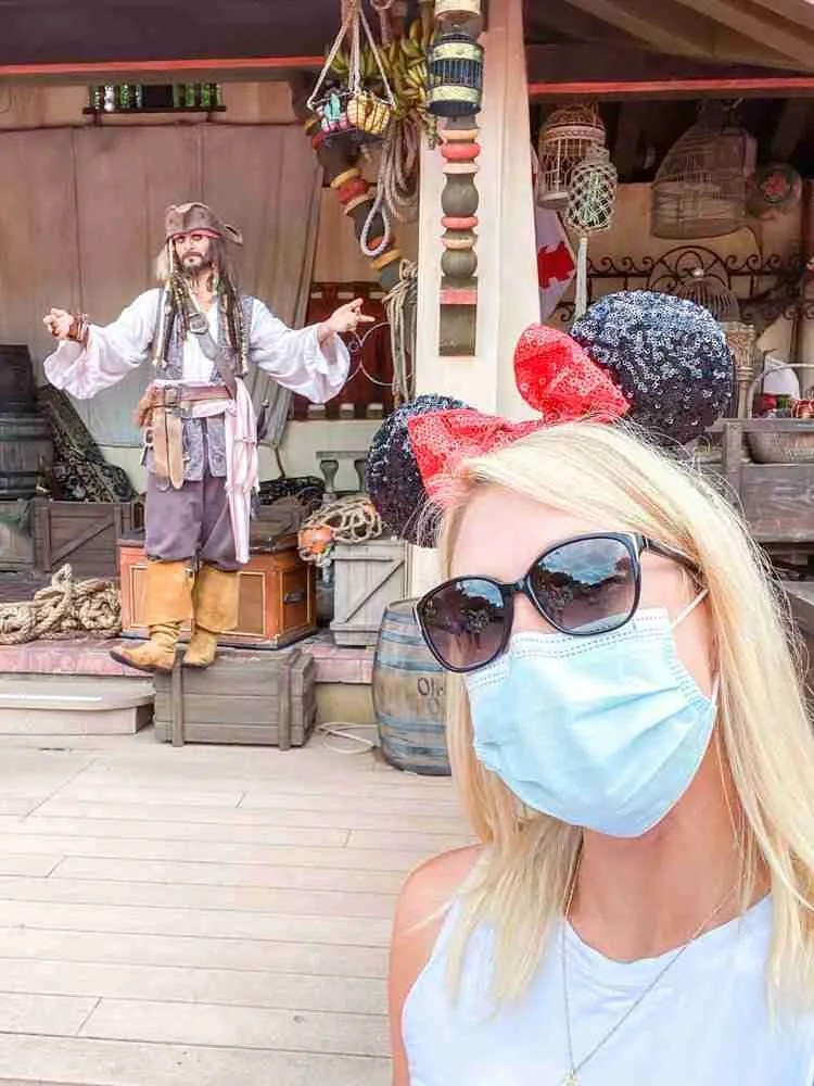 Selfie with Captain Jack Sparrow in Adventureland