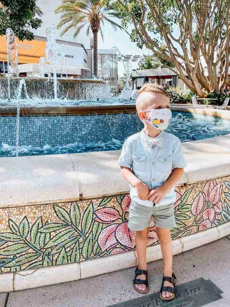 little boy wearing masks at mall by water fountain