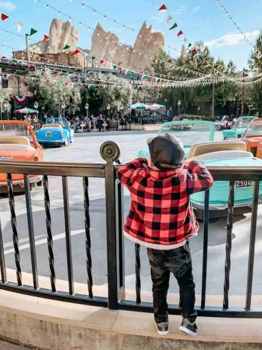 Little boy looking at Disneyland ride