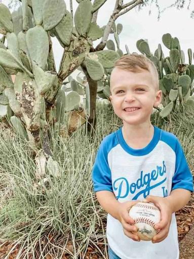 Smiling boy at Dodgers Spring Training