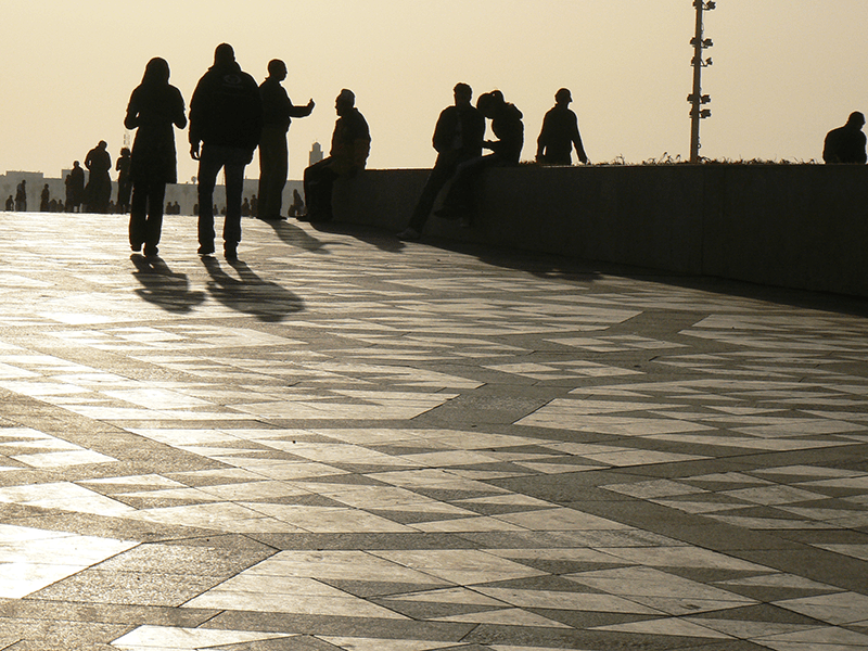 Silhouettes at Hassan2 Mosque