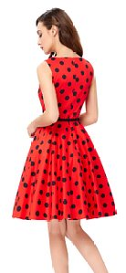 GRACE KARIN BoatNeck Sleeveless Vintage Tea Dress with Belt_7