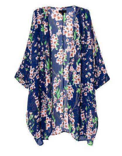 Olrain Women's Floral Print Sheer Chiffon Loose Kimono Cardigan Capes_1