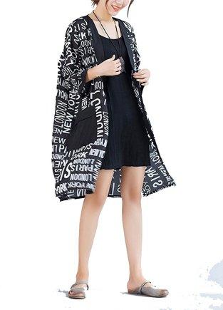 Olrain Women's Floral Print Sheer Chiffon Loose Kimono Cardigan Capes_3