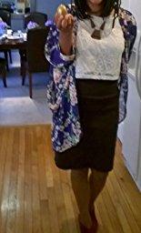 Olrain Women's Floral Print Sheer Chiffon Loose Kimono Cardigan Capes_9