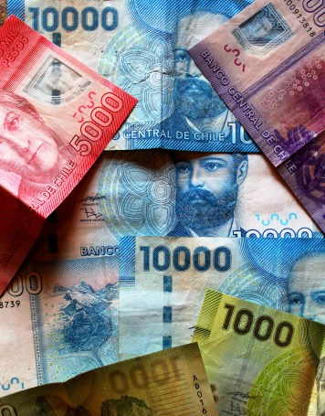 Chilean Pesos - note the pretty window in some of the bills