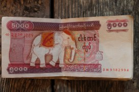 The elusive 5000 kyat note. Makes exchanging a $100 USD note much more efficient.
