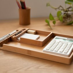 2 parts Wooden Pen Pencil Holder Case Container