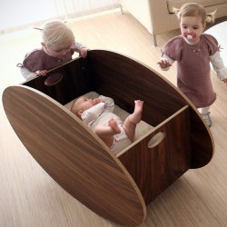 So-Ro Walnut Cradle Child Bed