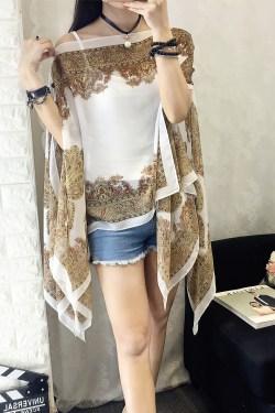 夏季复古民族风时尚百搭雪纺衫印花外披肩防晒衫