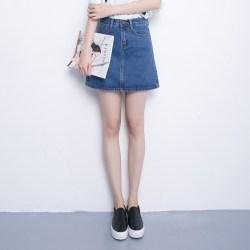 夏季韩版新款学院风短裙高腰显瘦牛仔裙包臀裙半身裙