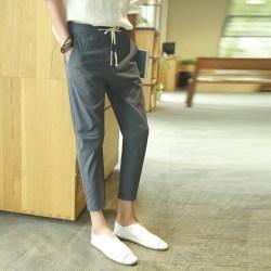 夏季新款亚麻男士修身小脚九分裤
