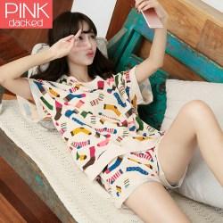 夏季女式可爱卡通纯棉短袖睡衣