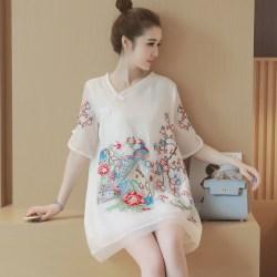 夏新款女装复古孔雀花朵刺绣显瘦A字旗袍连衣裙