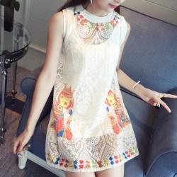 夏季新款韩版女装蕾丝显瘦两件套无袖A字连衣裙