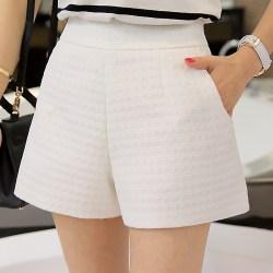 高腰休闲格子短裤