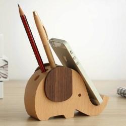 创意木制笔筒手机座