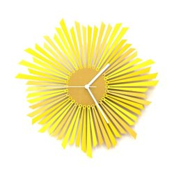 Sun Wooden Wall Clock in Yellow/Gold