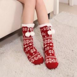 秋冬女士珊瑚绒圣诞袜