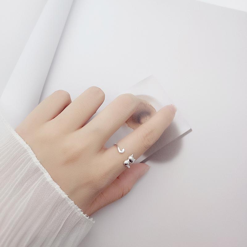 纯银小猫咪开口戒指