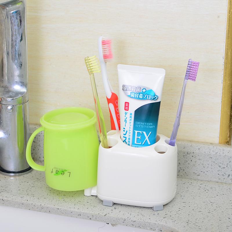 日本进口LEC牙膏牙刷架漱口杯收纳架