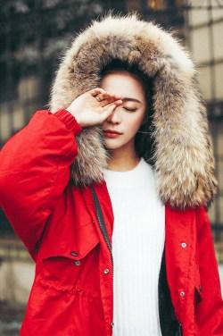 YEP韩版冬季中长款连帽棉袄