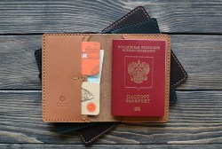 Hand Made Leather Passport Cover and document holder