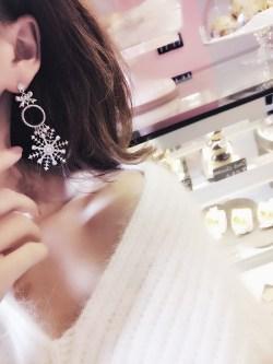 蝴蝶结水晶珍珠满钻雪花长款耳钉