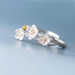纯银樱花戒指