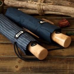 文艺虚线纹木质手柄三折叠晴雨伞