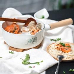 日式搪瓷单柄汤锅