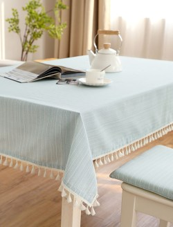 田园风棉麻方形餐桌布
