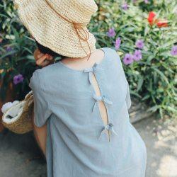 蝴蝶结绑带棉麻方领短袖衬衫
