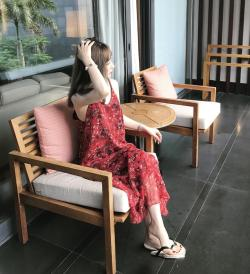 99TWINS无袖雪纺印花吊带定制连衣裙