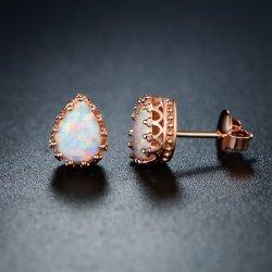 18K Rose Gold Plated White Fire Opal Teardrop Crown Stud Earrings
