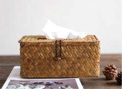 环保手工草编纸巾盒收纳盒车载纸巾盒