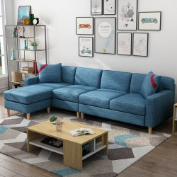 择木宜居 北欧风时尚简约沙发组合,小户型沙发四人位+脚踏