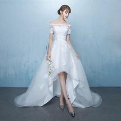Happy bride快乐新娘 轻婚纱礼服,一字肩拖尾婚纱礼服