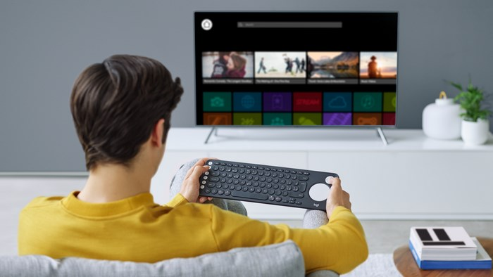 Logitech K600 Keyboard Smart TV typing and navigation